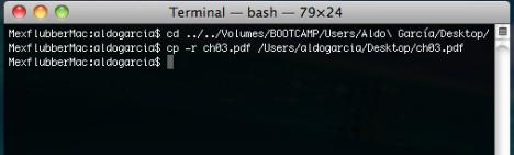 Copiando archivos desde la partición de bootcamp